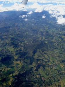 Flying over Medellín, Colombia.