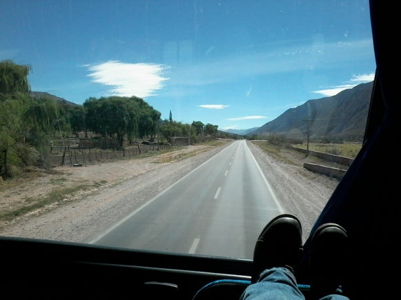 Upper deck, front row, best seat in the house. Border crossing Argentina to Bolivia from Humahuaca to La Quiaca.