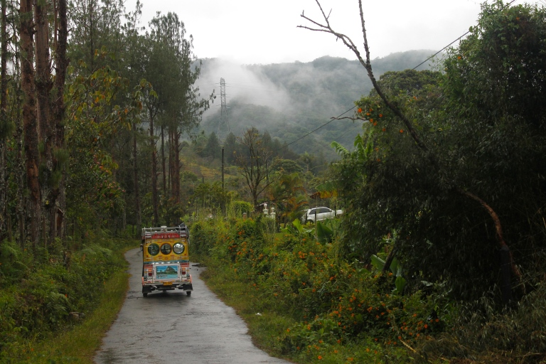 Mototaxi drives down a road in Guatapé, Colombia.